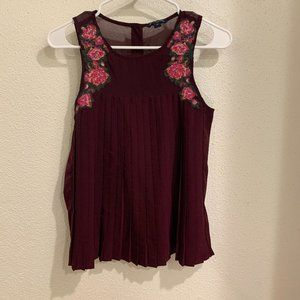 American Eagle Floral Blouse - Maroon